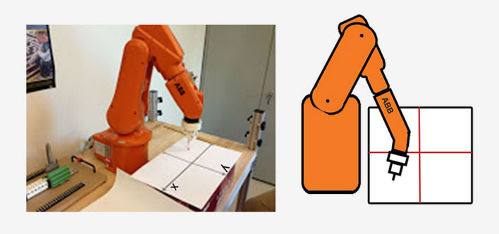 photo and diagram of a robotic arm